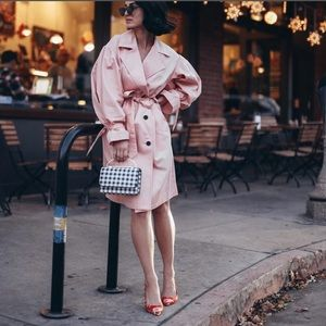 Who what wear puff pink trench coat sz Large